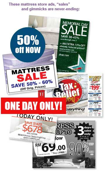 These mattress store ads, sales and gimmicks are never-ending: